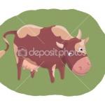 Корова на траве, иллюстрация детская