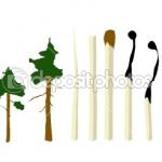 Спички, деревья, экология, плакат