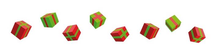 Караван подарков, летят подарки и коробки, иллюстратор в ростове