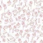 бесшовный фон, туфли, цветы, губы, конфеты, вишенки,