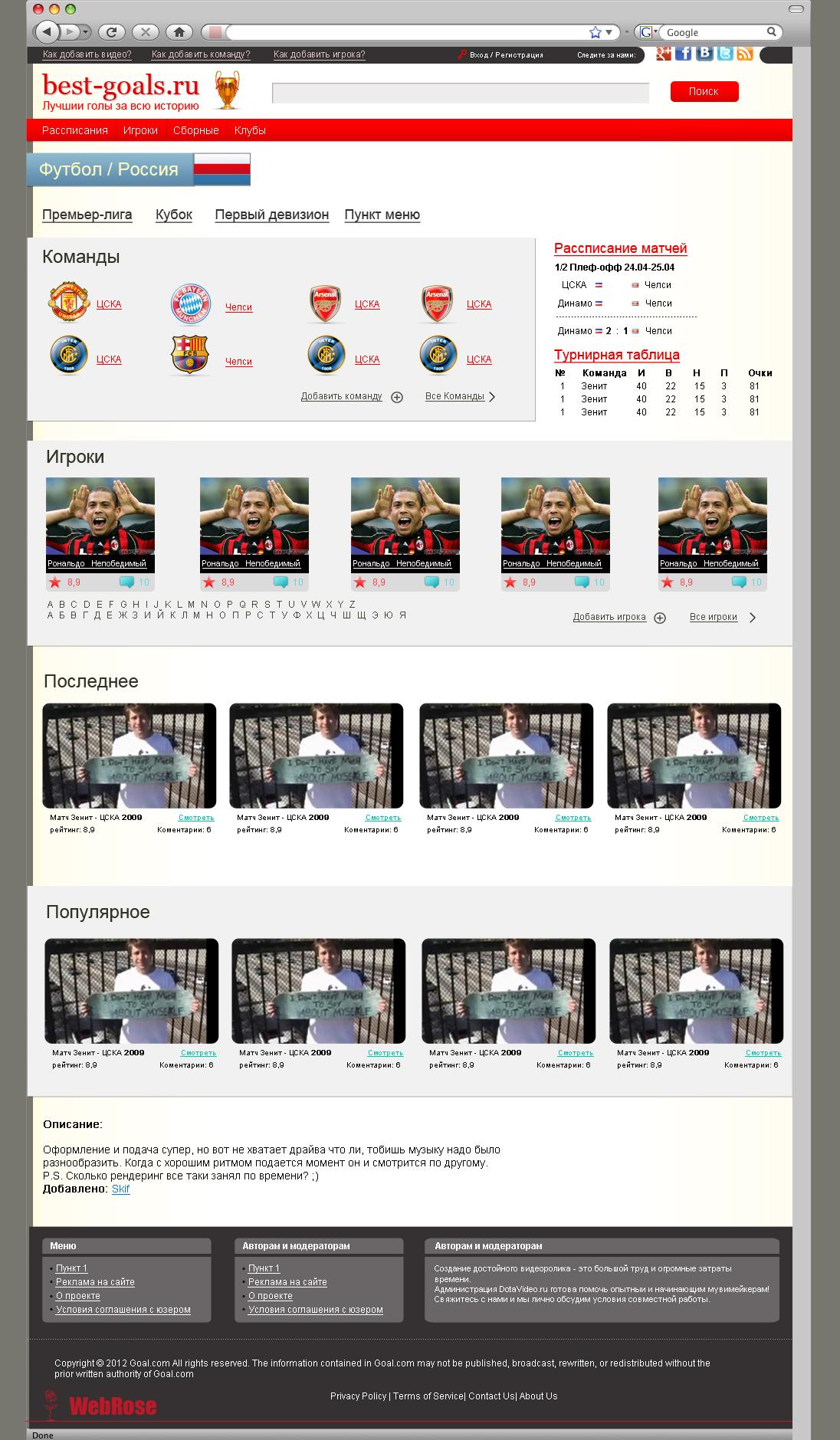Дизайн футбольного сайта, Сайт про футбол.