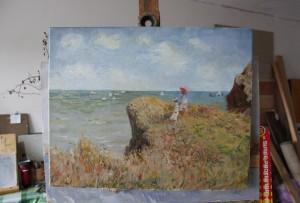 Копия Моне, дама с зонтиком, море, ветер, красный зонтик