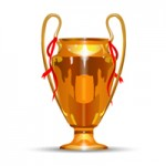 Футбольный кубок. золотой с красными ленточками