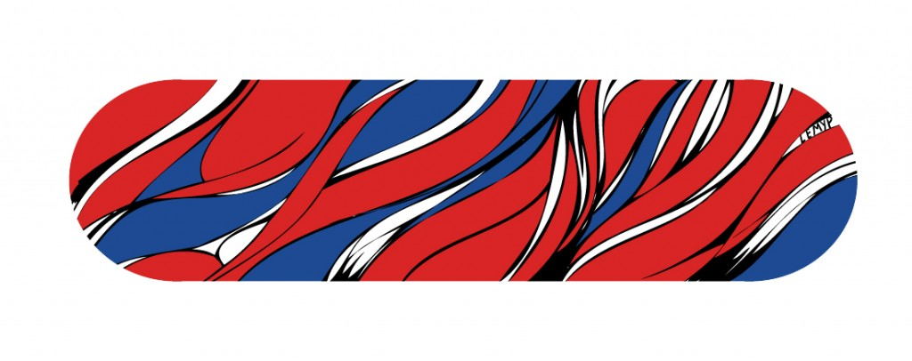 line wave, blue red design skateboard.