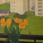 балкон и цветы х.м.