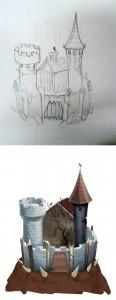 злой замок б эскиз и реализация для игры, художник