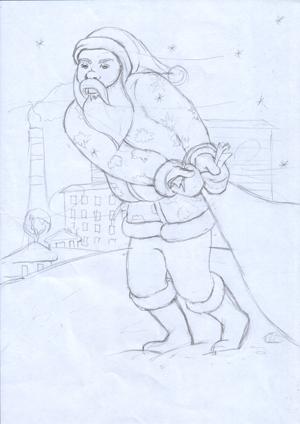 Карандашный набросок деда мороза, реализм, иллюстрация