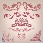Vintage floral elements set