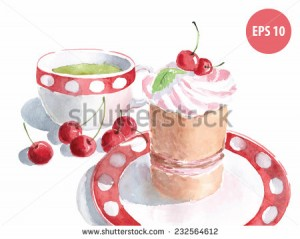 watercolor cake on dish with cup