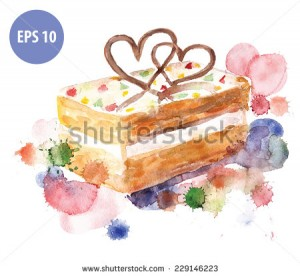 watercolor cake, with colorfull spot. watercolor food