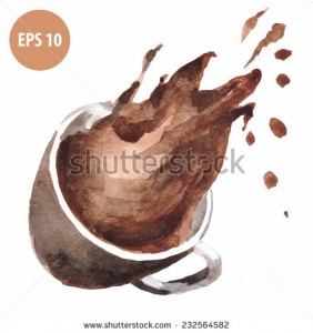 watercolor drop coffee,brown mug