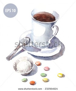 watercolor mug with spoon