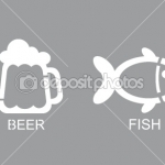 Пиво и рыба, трафарет